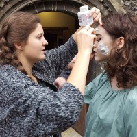 Make-up being applied for 'Contagious' at Canterbury Tales