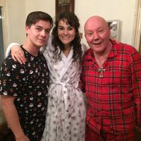 Olivia on set of 'Nightmare on 34th Street' with Karl Hughes and Jeff Kristian